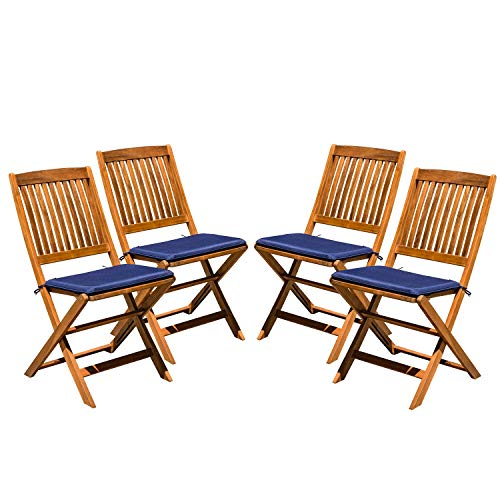Acacia Wood Outdoor Patio Folding Dining Chairs | Navy Blue Cushions | Garden, Backyard, Deck, Lawn, Poolside | Natural Finish| Set of 4