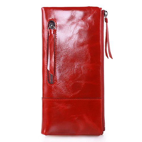 AINIMOER New Women Fashion Waxy Leather Vintage Billfold Long Wallet Casual Simple Style Mini Clutch Card Holder Zipper Closure Money Clip(Red)