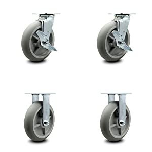 """Thermoplastic Rubber Donut Tread Swivel Top Plate Caster Set of 4 w/8"""" x 2"""" Gray Wheels - Includes 2 Swivel with Brakes & 2 Rigid - 2400 lbs Total Capacity - Service Caster Brand"""