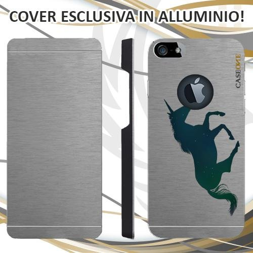 CUSTODIA COVER CASE UNICORN FLUO PER IPHONE 5S ALLUMINIO TRASPARENTE