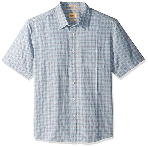 Quiksilver Waterman Men's Sunshine Crystals Button Down Plaid Shirt, Cerulean, XL