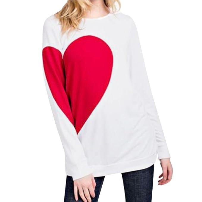 2018 Día de San Valentín de regalo de las mujeres impreso largo SLeeve Tops camiseta blusa
