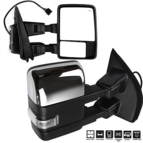 Eccpp F150 Towing Mirrors A Pair Of Exterior Automotive Mirrors Replacement Fit 2015 2017 Ford F 150 With Auxiliary Puddle Clearance Lights Signal Indicator And Power Operation Heated Chrome Housing