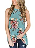 Willow Dance Women's Summer Sleeveless Halter Neck Floral Print Tank Tops Camis Shirts Blouse