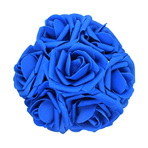 AnParty 50pcs Artificial Flower,Real Touch Artificial Foam Roses Decoration DIY for Wedding Bridesmaid Bridal Bouquet Centerpieces Party (50, Royal Blue)