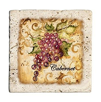 (Ambiance Wine Grapes Travertine Coaster Set (Set of)
