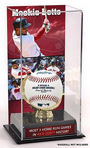 Boston Red Sox Franchise - Sports Memorabilia Mookie Betts Boston Red Sox Most 3HR Games in Sox History Sublimated Display Case with Image - Baseball Free Standing Display Cases