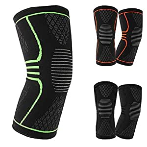 Quner Knee Support Braces Elastic Sport Knee Pad Sleeve for Basketball Volleyball Fitness Running Cycling (Black, M)