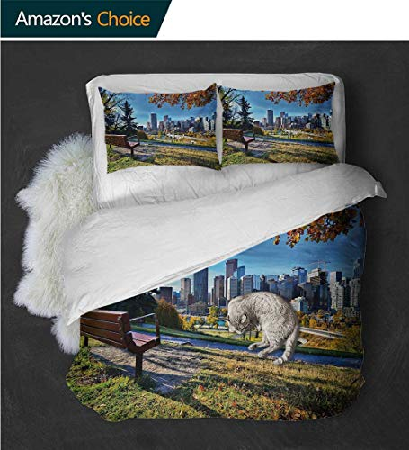 Temox Bedding Quilt Cover Park Bench Overlooking The Skyline of Calgary Alberta During Autumn Tranquil UrbanMulticolor Quilt -3 Pieces (Includes 1 Quilt- 2 Pillow) (Patio Set Covers Calgary)