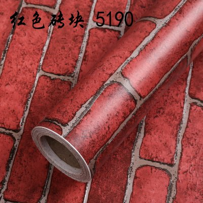 Jedfild Waterproof thick WALL paper continental idyllic bedroom living quarters cartoon wallpaper tv brick-wood-grain background, watermelon red red brick -10 m, only Wallpaper