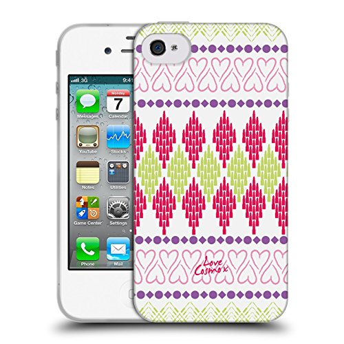 Official Cosmopolitan Heart Aztec Brights Soft Gel Case for Apple iPhone 4 / 4S