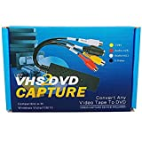 VHS to Digital DVD Converter Adapter,Lvozize Video Capture Grabber Device,Transfer S-Video RCA VCR Hi8 V8 Camera Game to DVD with Easy to Use Software, Work with Windows 7/8/10/XP