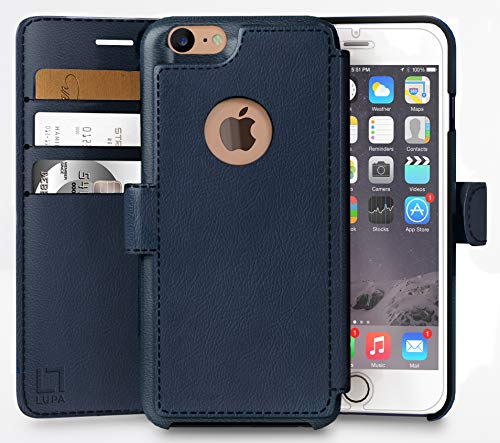 - iPhone 7 Wallet Case, Durable and Slim, Lightweight with Classic Design & Ultra-Strong Magnetic Closure, Faux Leather, Navy Blue, Apple 7 (2016)