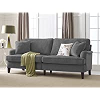 Serta Carlisle 85 Sofa with Pleated Arms in Gray
