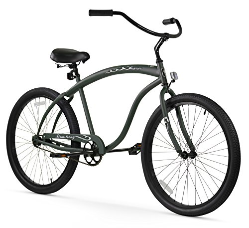 Firmstrong Bruiser Man Single Speed Beach Cruiser Bicycle, 26-Inch, Matte Army Green For Sale