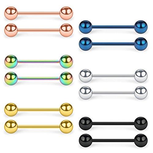 (SCERRING 316L Stainless Steel Externally Threaded Nipple Bar Barbell Rings Piercing Retainer 16G 5/8Inch 12PCS)