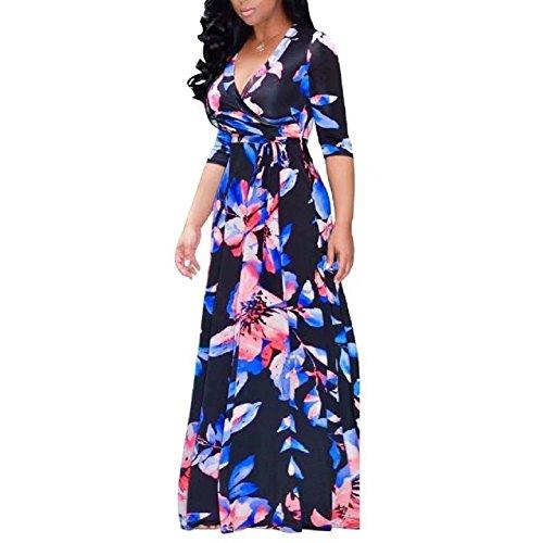 Bettergirl (tm) Womens Profonde Étirement V-cou Maxi Demoiselle D'honneur Occasionnel Taille Floral, Plus Longue Robe Bleue