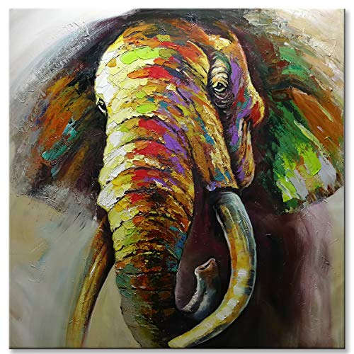 - SHUAIDI Wall Arts - 100% Hand Painted Oil Painting Cute Animal Colorful Elephant Painting for Living Room Kids Room Decor (SD002, 32x32inch)