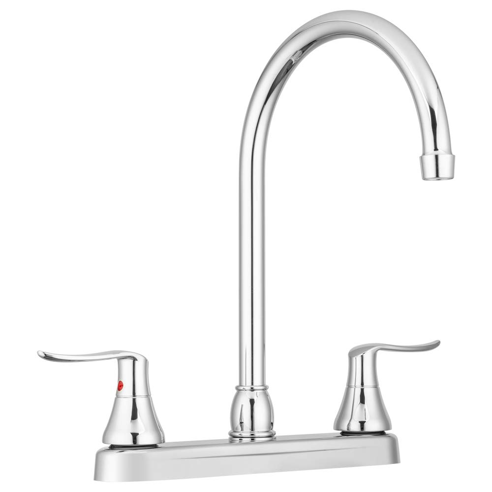 Dura Faucet Elegant J-Spout RV Kitchen Faucet - Chrome Polished - for Motorhomes, 5th Wheels, Trailers, and Campers - New 2019 Model