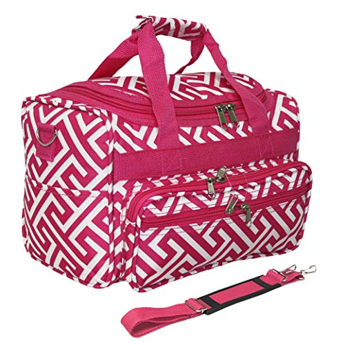 13 Inch Durable Mini Duffle (Greek Key Pink White)