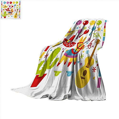 Fiesta Throw Blanket Mexican Party Pattern Cactus Sombrero Musical Items and a Pinata Ethnic Inspirations Warm Microfiber All Season Blanket for Bed or Couch 50 x 30 inch Multicolor -