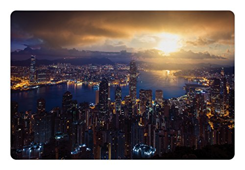 Lunarable Urban Pet Mat For Food And Water By  Aerial Skyline Of Night Victoria Peak Hong Kong City Skyscrapers Metropolis Image  Rectangle Non Slip Rubber Mat For Dogs And Cats  Blue Golden