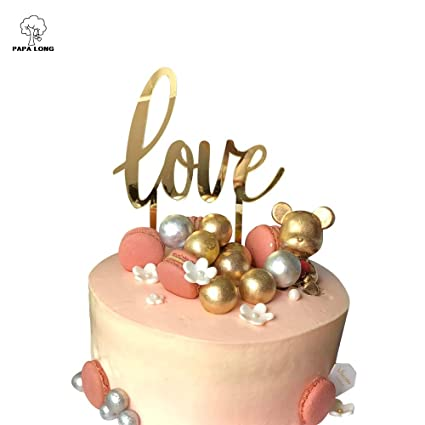 Amazon Com Papalong Design Gold Acrylic Love Cake Topper For