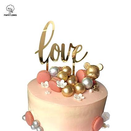 Amazon Com Papalong Design Gold Acrylic Love Cake Topper For