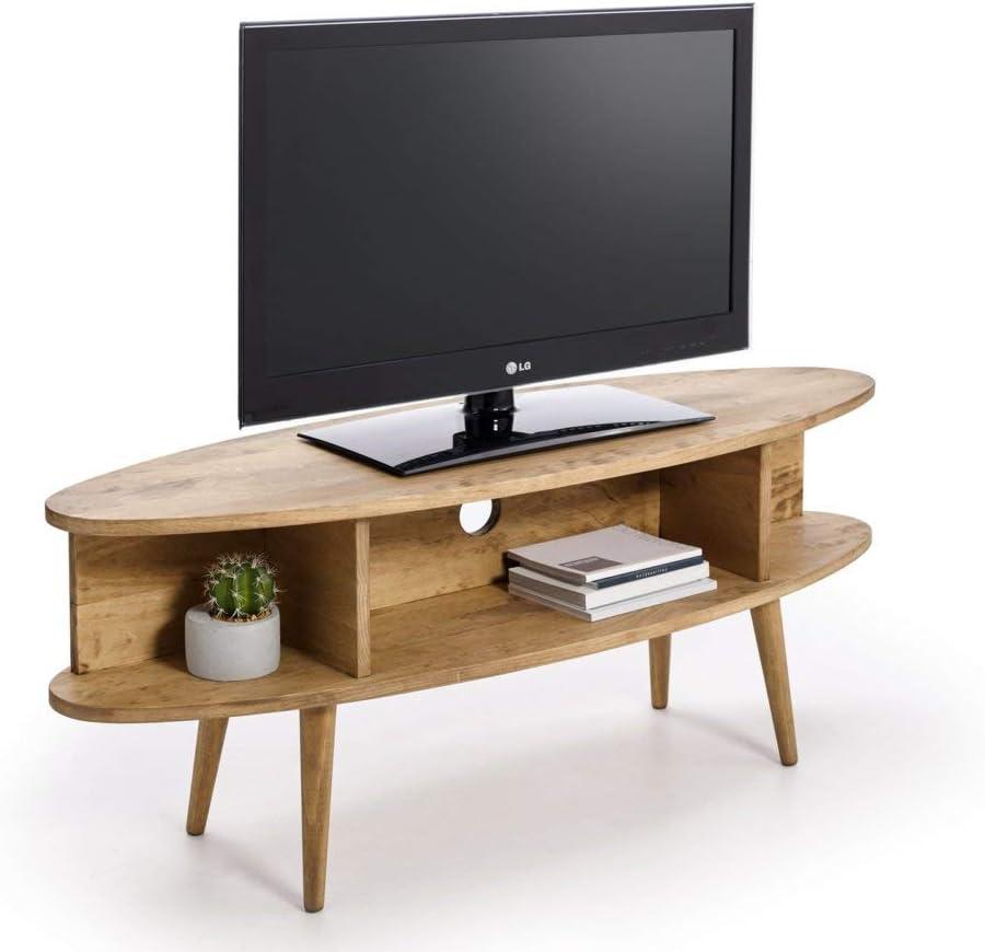 HOGAR24 ES Mueble TV diseño Vintage Ovalado con estantes, Acabado ...