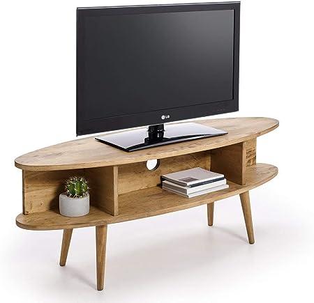 HOGAR24 ES Mueble TV diseño Vintage Ovalado con estantes, Acabado Madera Natural Encerado. Medidas: Ancho: 120 cm x Fondo: 40 cm x Alto: 49 cm.: Amazon.es: Hogar