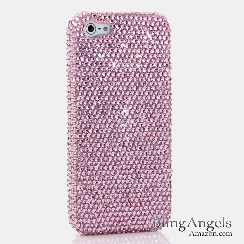 iPhone 8 Case, iPhone 7 Case, [Premium Handmade Quality] Bling Genuine Crystals Light Pink Crystals Design Hybrid Protective Cover for iPhone 8 / 7 by LUXADDICTION