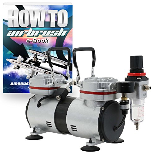 PointZero 1/3 HP Twin Piston Airbrush Compressor - Professional Quiet Tankless Oil-less Air Pump by PointZero Airbrush