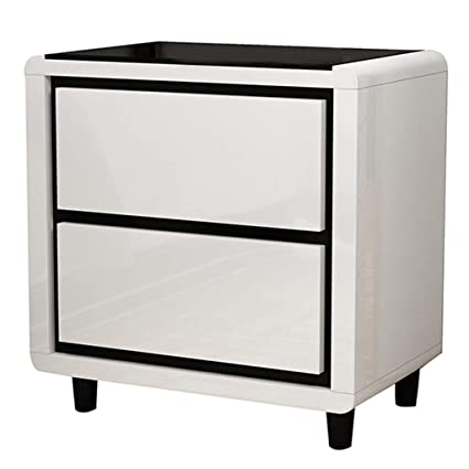 Black White Contrast Color Bedside Table Double