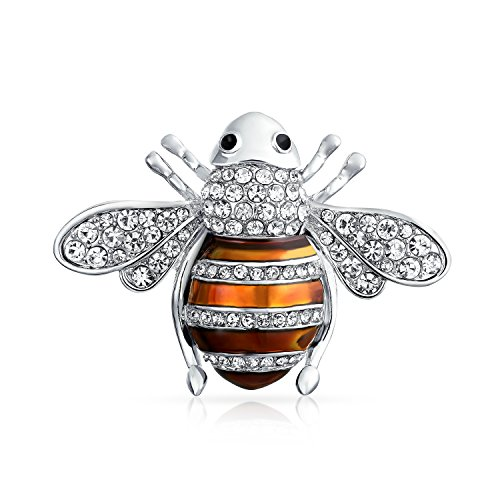 Bling Jewelry Crystal Bumble Bee Insect Brooch Pin Rhodium ()