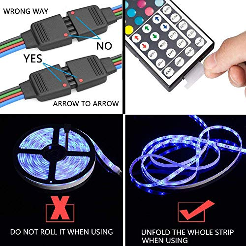 LED Strip Lights, Flykul LED Light Strip 32.8Ft/10M Waterproof RGB SMD 5050 300LEDs Rope Lighting Color Changing Full Kit with 44 Keys RF Remote Controller and DC 12V 5A Power Adapter by Flykul (Image #5)