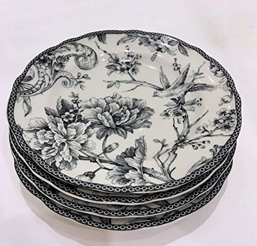 222 Fifth Adelaide Gray Toile Pattern Salad/Luncheon Plates | Set of 4