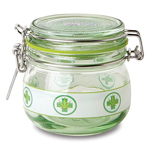 KEEP YOUR HERBS FRESH!!!!-- SUPER HEAVY DUTY 5 Oz Glass Stash Jar with Air Tight Seal- Small (Green Cross) (Small Glass Weed Bong compare prices)