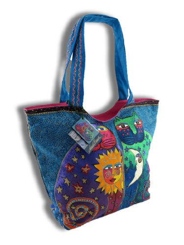 Laurel Burch Laurel Burch Scoop Tote Zipper Top, 49,5 cm x 13 cm x 15 cm, Celestial Felines