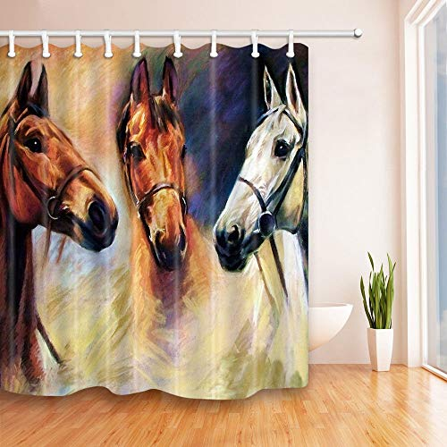 GoHeBe Animal Shower Curtain White and Brown Horse Head Portrait Oil Paintings Art Print Bathroom Resistant Polyester Fabric Waterproof Shower Curtain Set with Hooks 71X71in