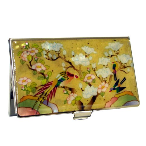 Mother of Pearl RFID Blocking Protection White Magnolia Flower Bird Design Yellow Business Credit Name ID Card Holder Case Metal Stainless Steel Engraved Slim Purse Pocket Cash Money (Antique Magnolia)