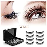 Magnetic Eyelashes No Glue - Dual Magnets Natural False Eyelashes - 3D Reusable Full Eye Fake Lashes Extensions - Thick Soft & Handmade Seconds to Apply(2 Pair 8 Pieces)