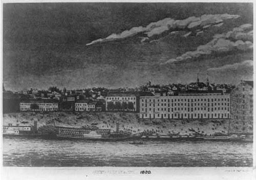 Photo: Cincinnati waterfront from the Ohio River,1820,buildings,ship