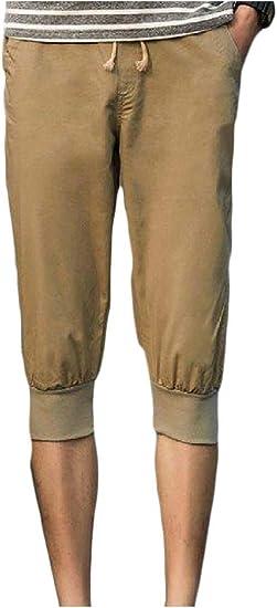 Romancly メンズ3分の4レングスジュニアカジュアルクラシック巾着ウエストアスレチックハーレムパンツ