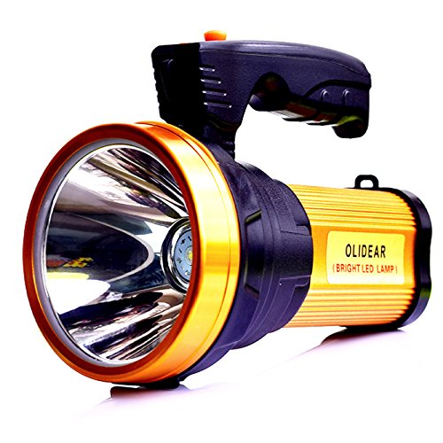 Olidear Rechargeable Spotlights Ultra Bright Flashlight LED Emergency headlight Handheld Searchlight for Outdoor Indoor (golden)