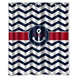 New Choice - Elegance Dark Blue Chevron Anchor Shower Curtain 60x72 Inches 100% Waterproof Polyester Fabric Bathroom Curtain,Shower Rings Included by New Design Chevron Shower Curtain