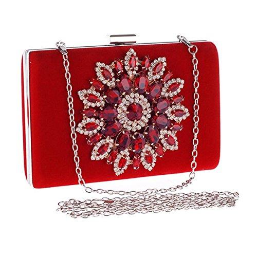 FZHLY Bolso Del Hombro De Las Señoras Diamond Party Party Clutch Para Navidad,Red Red