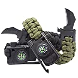 2 Pack- Paracord Survival Bracelets with Knife by Outdoors7-5 in 1 Bracelet with 550 LB Cord, para-Claw, Fire Starter, Compass, Whistle- Tactical Multi-Tool for Hiking, Camping, or Emergency