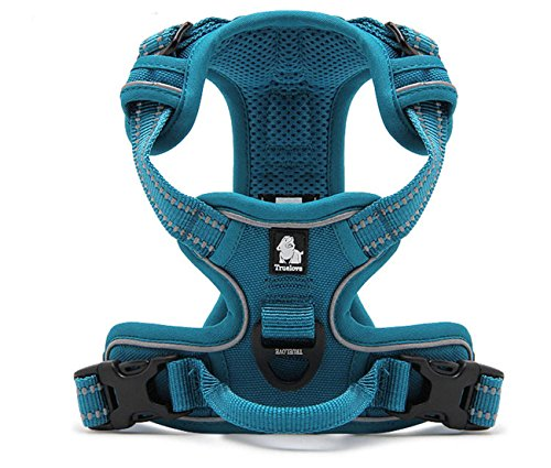 TRUE LOVE Adjustable No-Pull Dog Harness Reflective Pup Vest Harnesses Comfortable Control Brilliant Colors Truelove TLH5651(Blue,L)