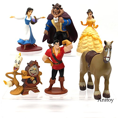 Belle Disney Lamp - 6pcs/set Beauty and the Beast Princess Bella Beast PVC Figures Collective Model Toys Girls Gifts 7-10cm