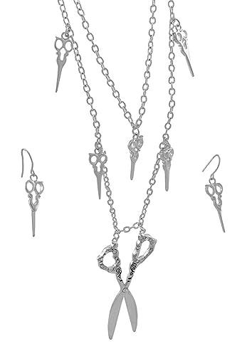e82a8ad2bea4 Argenté Double Mèche Ciseaux Ensemble collier et boucles d oreilles en forme